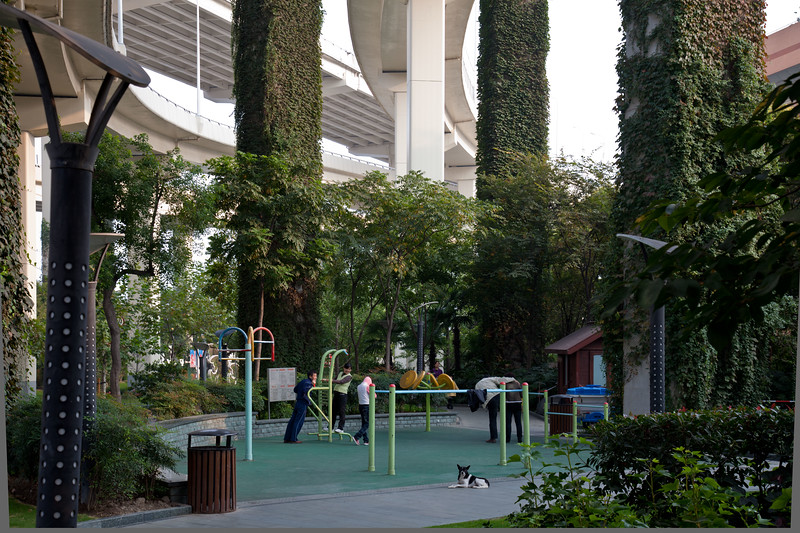 People exercising in a park beneath an elevated motorway in Shanghai.