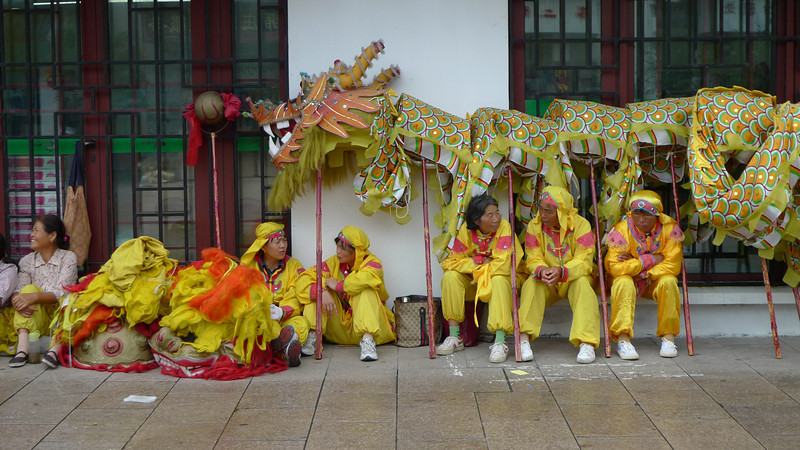 The Dragon dancers at rest.