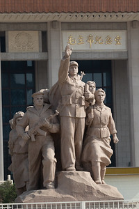 Lots of heroic statues outside Mao's tomb in Tiananmen Square.
