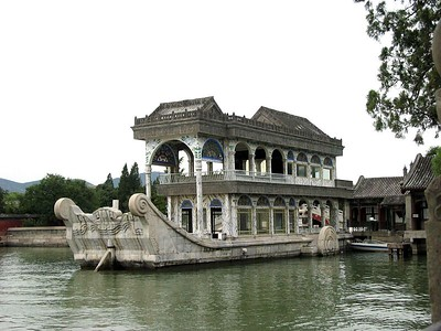 Marble Boat at the Summer Palace. No, it doesn't float. We drink tea there. If you have a problem with that we can have you hauled out the gate and beaten for three days. The lake is artificial and it is huge.