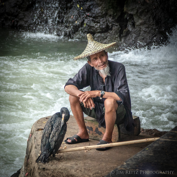 Cormorant fisherman in Yangshuo, China
