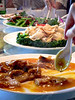 China - Beijing - food - Yu Zhenfang restaurant - lazy susan with beef, squid, sweet and sour chicken