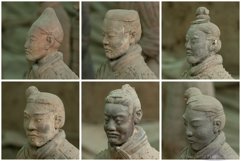 Every face is unique among the over 8000 restored warrior statues in Xian, China.
