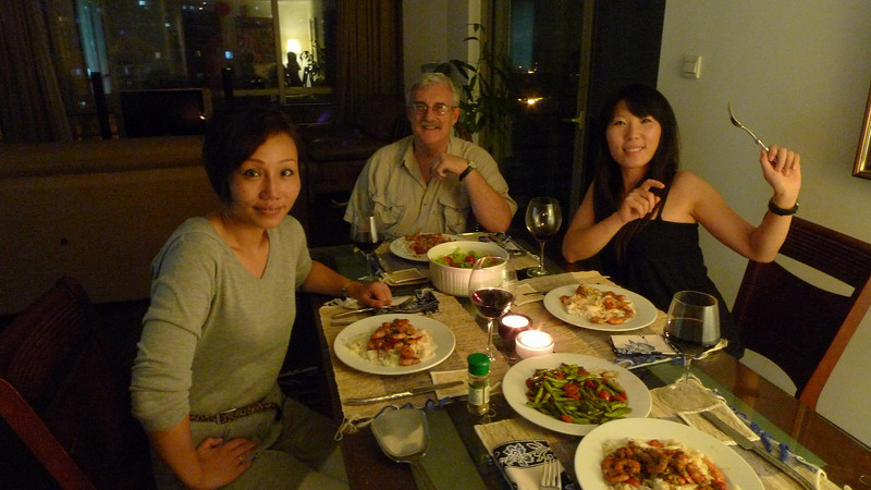 Monica, Edward, and Rose about to enjoy shrimp and egg noodles prepared by yours truly.