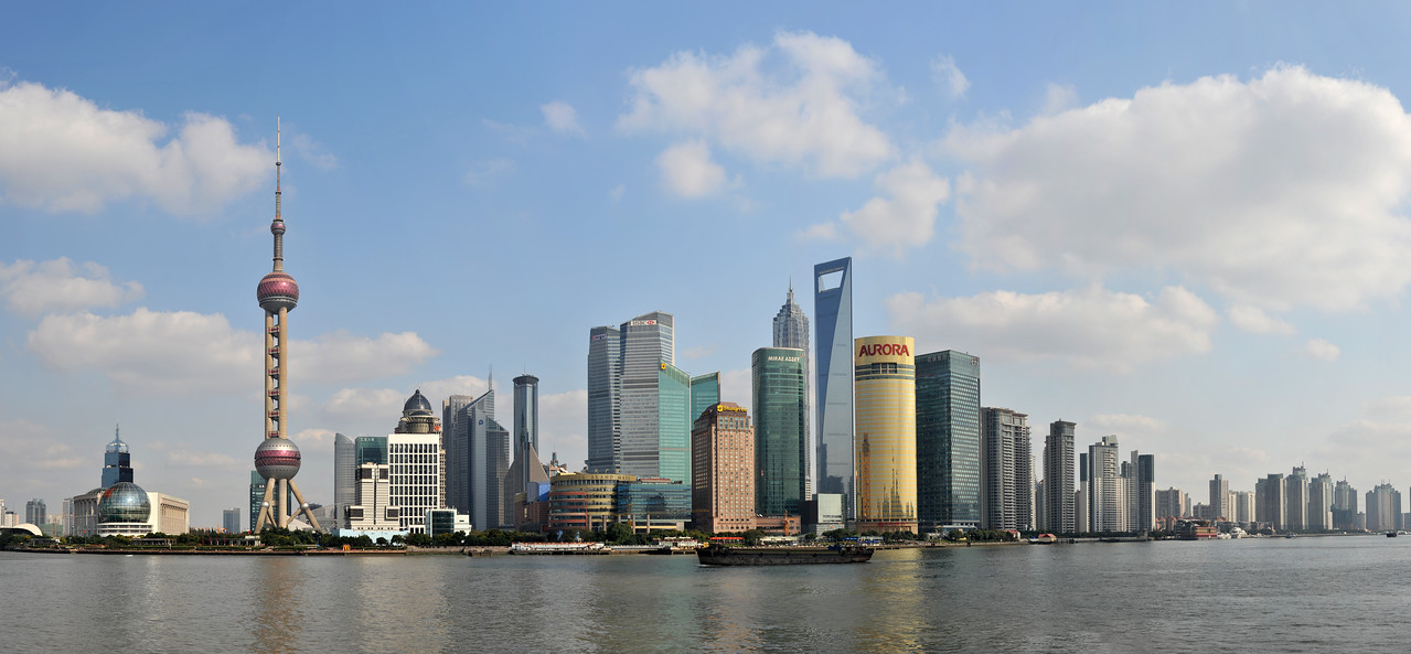 Shanghai - panoramic view of Pudong from the Bund.