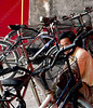 China - Beijing - Forbidden City - Hall of Supreme Harmony - nearby man with bicycles