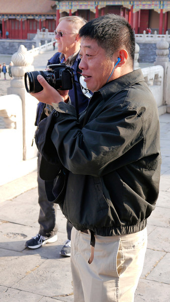 Beijing. Tiananmen Square-The Gate of Heavenly Peace-The Forbidden City.  Mike, taking some pix of us with our cameras.