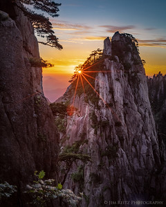 Sunrise at Beginning-to-Believe Peak. Huangshan (Yellow Mountain), China.