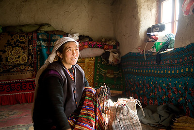 A Kasakha Jewelry Seller Inside a Yurt
