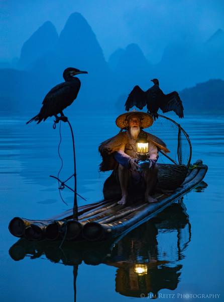 Cormorant fisherman - along the Li River near Guilin, China.