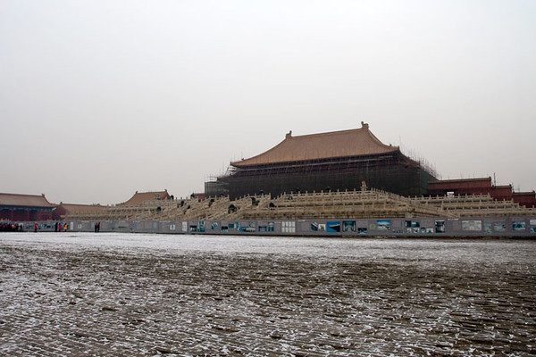 Forbidden City in Beijing with work underway getting ready for the olympics.