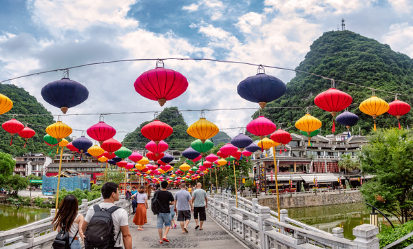 The colorful tourist town of Yangshuo, on China's Li River.