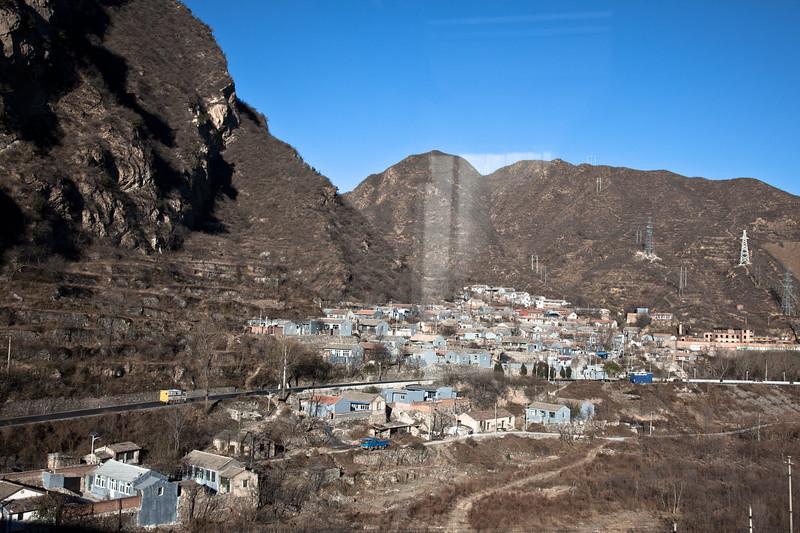 Scenery in China from the Trans-Siberian railway, between Beijing and Ulaanbaatar.