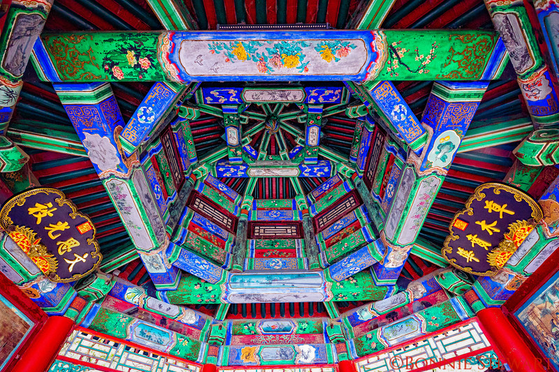 Underside of the roof in one of the corridors in the Summer Palace grounds - beautifully decorated in ancient Chinese motifs.