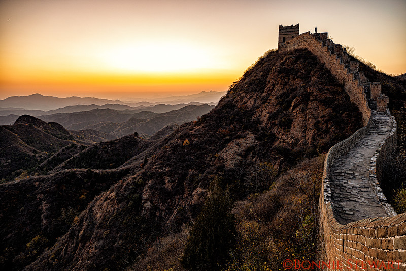 After the sunset at the Jingshanling section of the great wall of China.