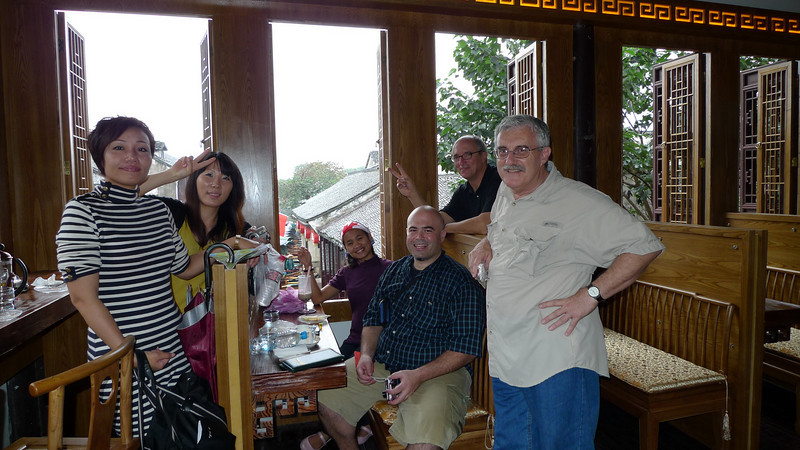 Our group in a tea house in Zhouzhuang.