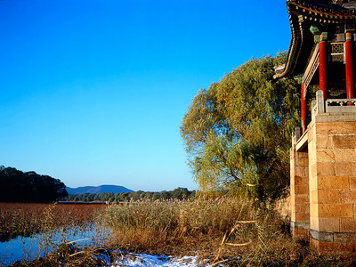 The view of the marshland on the far side of the lake at Summer Palace. Beijing, China