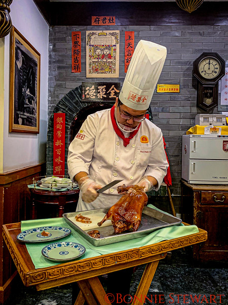 Dinner of Peking Duck at the historic restaurant Quan Jude located on Qianmen Street - an area with many reproduced buildings reflecting 100 year old architecture.  The restaurant was in fact 167 years old and is the most famous in Beijing for Peking Duck!!!  The duck was awesome!