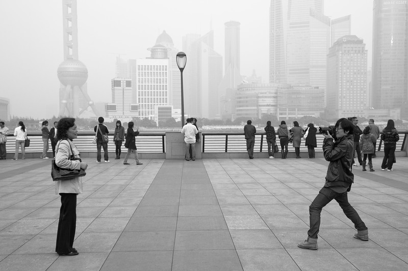 Tourists on The Bund in Shanghai.