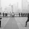 Tourists on The Bund in Shanghai.