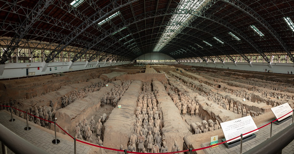 Wide-angle panorama of the main terra-cotta warrior pit in Xian, China.