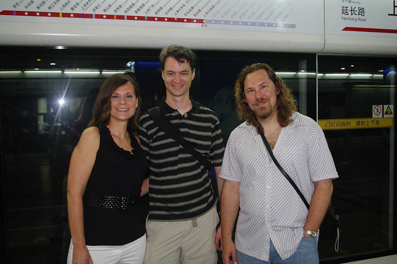 The Shanghai Circus World station with Lisa and Ed (Bro-in-Law).  The subway system was great, if a little intimidating.  You don't want to give up ground near the door if you want to get off.  Also, the trains went on as far as you could see from the inside.  Amazing.