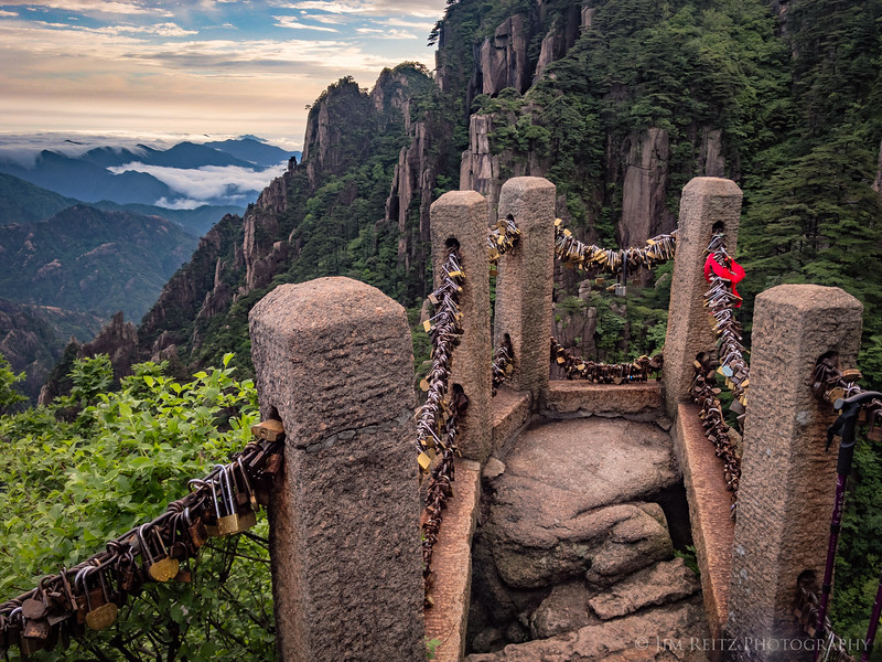 """Love locks"" attached to an overlook at Huangshan (Yellow Mountain), China."