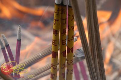 Burning incense at the Lama Temple.
