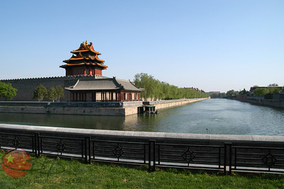 Moat surrounding the Forbidden City, looking south toward the Great Hall of the People.