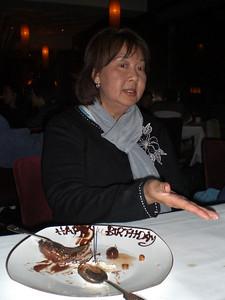 It is Pam's birthday celebration with a scrumptious dessert at M on the Bund, Shanghai!