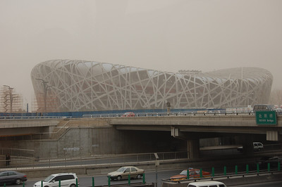 The Nest under construction for the Beijing Olympics.
