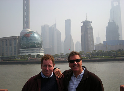 Kev and Greg with Shanghai sky line