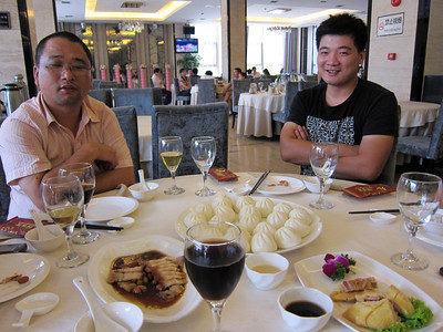 Lunch with the tower factory workers in Shanghai... they didn't speak english - conversation was fun.