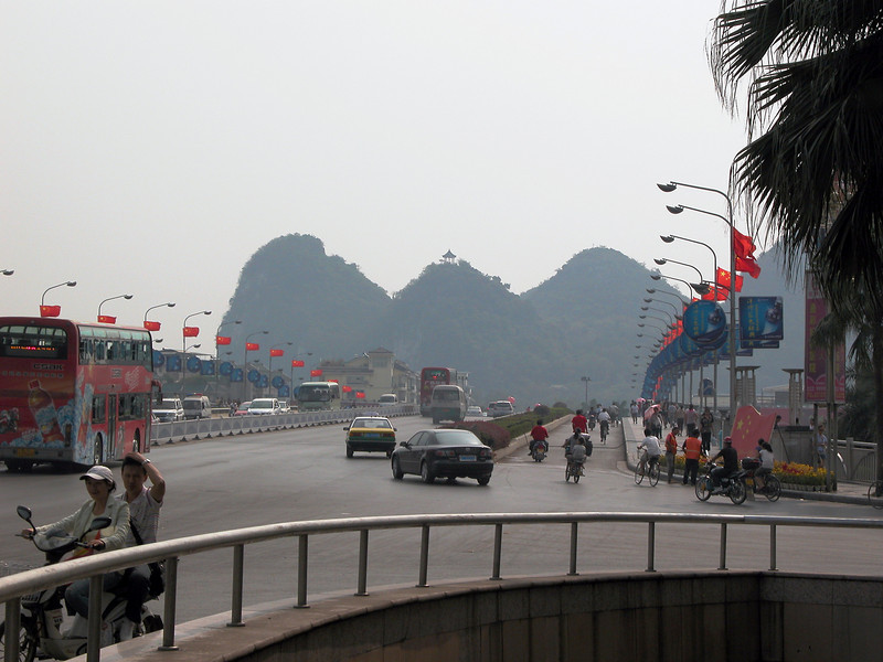 Guilin is a big city, but still has a few areas worth seeing. We stayed only one day. This bridge is right downtown.