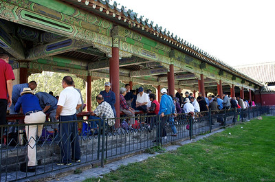 people gather all over the temple grounds to play cards and other traditional Chinese games