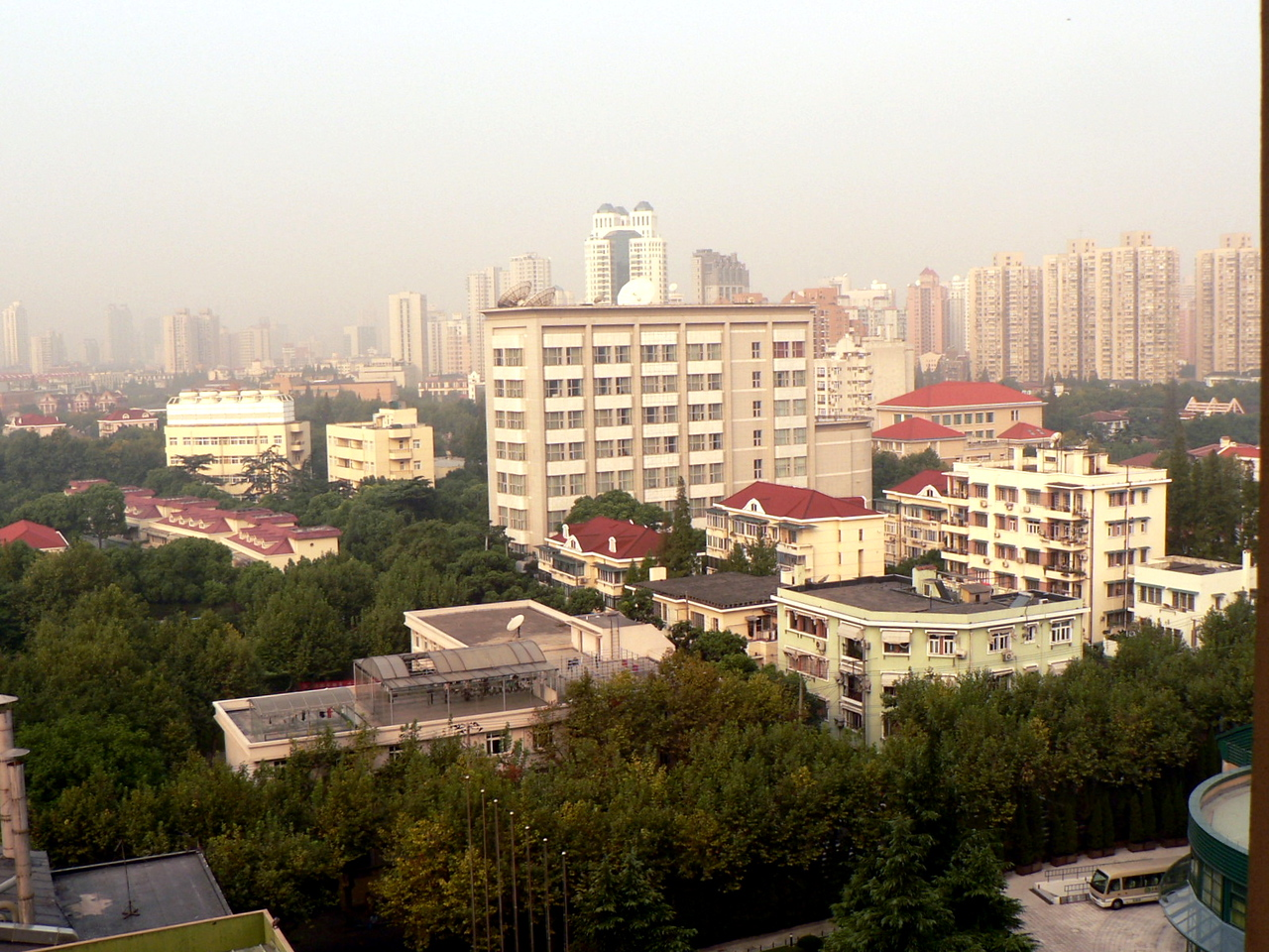 Shanghai...the view from our hotel, the Regal International East Asia Hotel.  Haze or smog...you decide.
