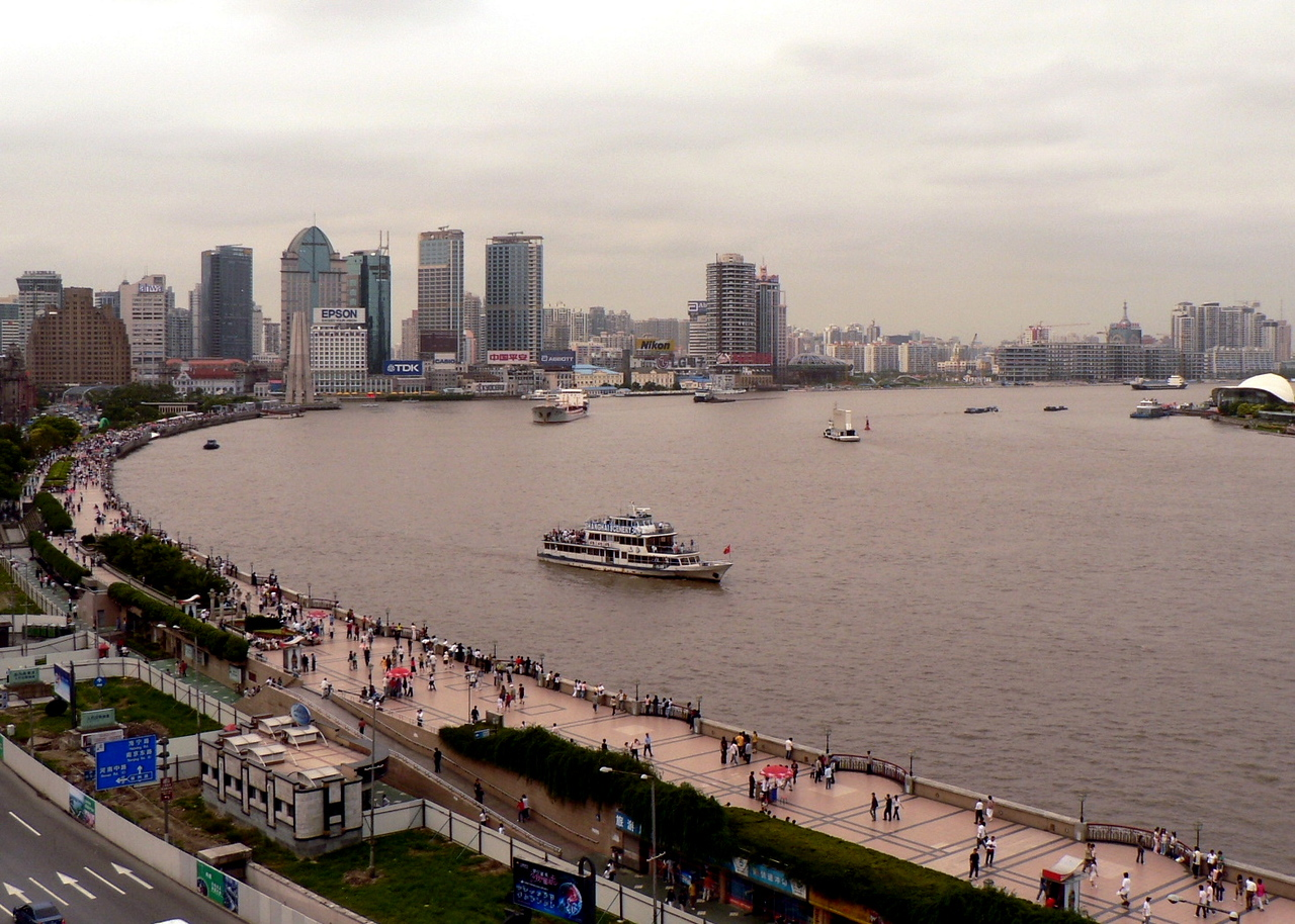 "On ""the Bund.""  The Huangpu River."