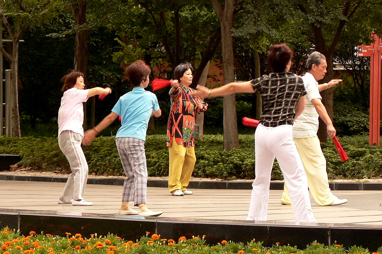 Practising their morning Tai Chi in Xu Jia Hui park