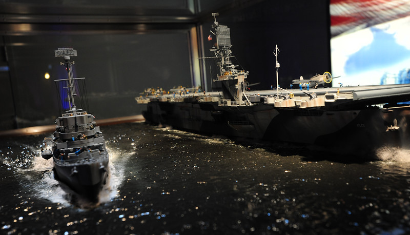 A model of naval vessels on display at Chicago's Museum of Science and Industry.