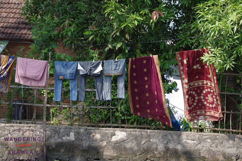 Laundry time, sari and denim