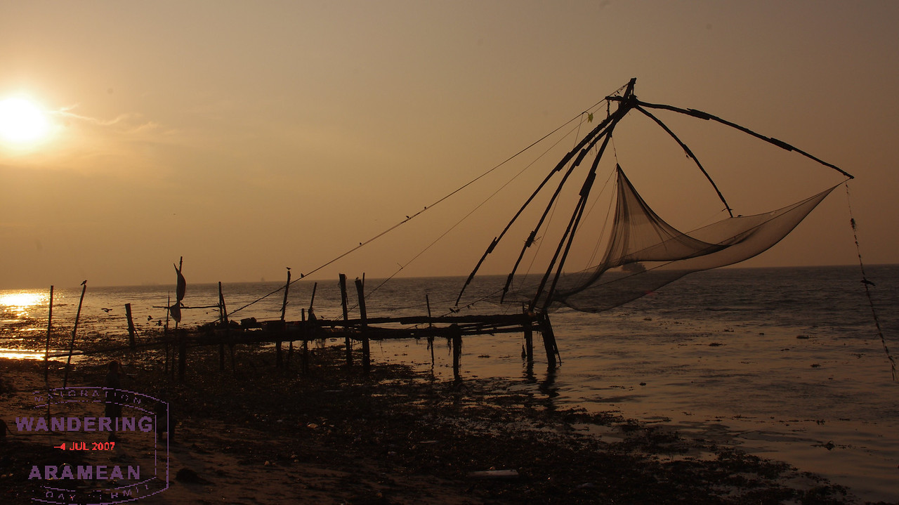 The iconic and oft seen photo of the Chinese fishing nets at sunset