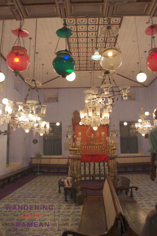 Inside the old synagogue in Kochi