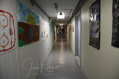 This (icy cold) hallway separates the dorm from the rest of the center