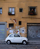 Typical backstreet in Florence with ubiquotous Fiat 500