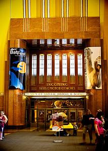 03/15/12 Looking to the right once you enter the front door at the Cincinnati Museum Center.  Union Terminal which houses the Cincinnati Museum Center in Cincinnati, Ohio.  Union Terminal was built in 1933 and is a great example of art deco and is a National Historic Landmark. Amtrak operates at Union Terminal.  For more info, go to http://www.cincymuseum.org/unionterminal