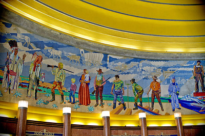 Mural by Winold Reiss (German born) done in 1932 within the Cincinnati Museum Center.  The people in the mural are 12 feet high and this is only one section of the 2 murals (each mural is 105 feet long and over 20 feet high).