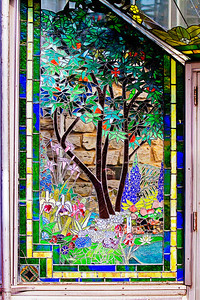 03/15/12 Stained glass to the left of the front door of the Krohn Observatory in Cincinnati, Ohio within Eden Park.