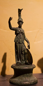 "Small bronze Minerva statue.  One of over 250 artifacts from the exhibit ""A Day in Pompeii"" at the Cincinnati Museum Center in Ohio"