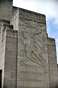 03/15/12 The symbols of Commerce and Transportation are carved into the stone on the sides of the front entrance to Union Terminal in Cincinnati (this one is the Commerce sculpture).