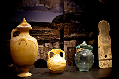 "Cremation urns from Pompeii.  One of over 250 artifacts from the exhibit ""A Day in Pompeii"" at the Cincinnati Museum Center in Ohio."